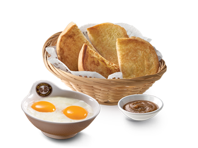 "Kaya & Toasted Bun + Soft Boiled Omega Eggs<br /><span lang=""zh"">烤包子&加央 + 奥美加生熟蛋</span>"