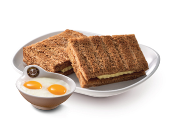 "Kaya & Butter Toast (Single) +<br />Soft Boiled Omega Eggs<br /><span lang=""zh"">加央牛油烤面包(单)+生熟蛋</span>"